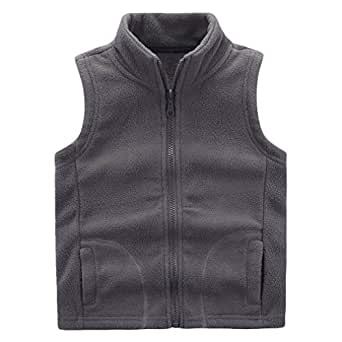 Motteecity Boys' Warm Zipper Fleece Vest Size 3T Grey