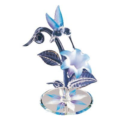 Glass Baron Blue Hummingbird with Flower Figurine