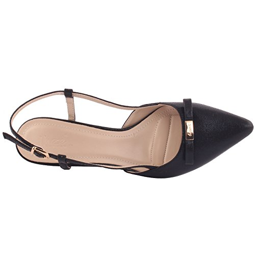 Unze Mujeres 'Jackey' Bow minúscula punta-dedo del pie Mediados de bajo talón Partido Prom Reunirse Carnaval Oficina Evening Sandalias Tacones Corte Zapatos Reino Unido tamaño 3-8 Negro