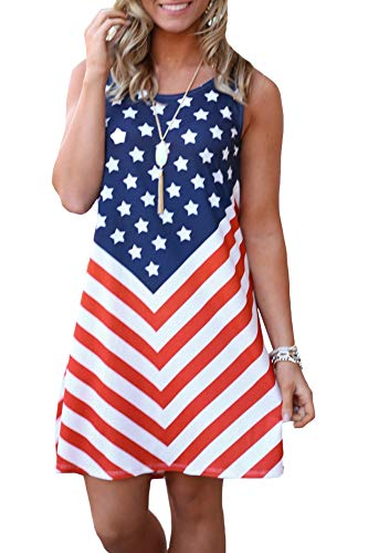 Women July 4th American Flag Tank Star Striped Sleeveless Loose Swing T Shirt Dress Patriotic USA S