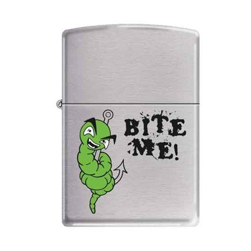 Zippo Brushed Chrome Bite Me Fishing Hook with Worm Cigarette Lighter