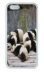 Brian114 5s Case, iPhone 5 5s Case - Soft Rubber White Pandas Protection Back Case for iPhone 5 5S
