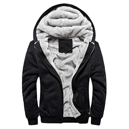 Cappotto Hoode Mens size Pile Caldo Xinheo Cerniera Sottile Outwear Nero Plus xRZwR8Yq