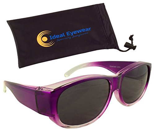 Womens Ombre Fit Over Sunglasses by Ideal Eyewear - Wear Over Prescription Glasses - Over Eyeglasses - Polarized Lenses - Light and Comfortable - Case Included (Purple with case, - Sunglasses Ideal