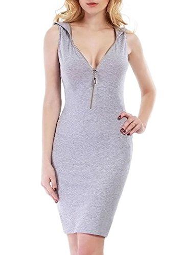 Vin Beauty Trägerkleid, ärmelloser tiefer V-Ausschnitt vorner Reißverschluss Kapuze kleid, Abendkleid, Cocktailkleid, Party kleider, sommer Kleid