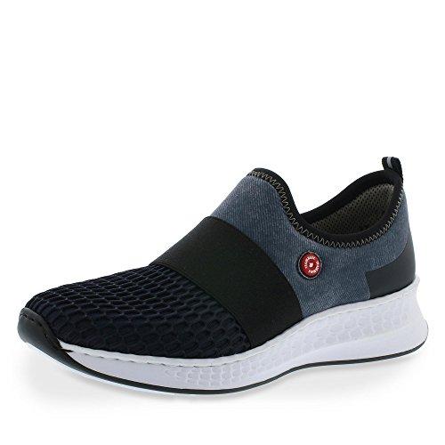 Halbschuhe Damen Rieker denim schwarz N5651 Sneaker Navy Schnürhalbschuhe fPacCIaq