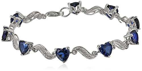 Sterling Silver Created Blue Sapphire and Diamond Accent Heart Wave Bracelet, 7.25