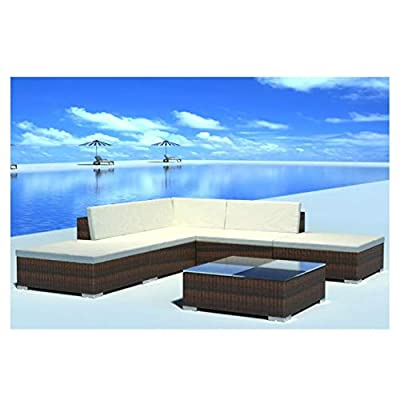 K&A Company Outdoor Furniture Set, Garden Lounge Set 15 Pieces Poly Rattan Brown
