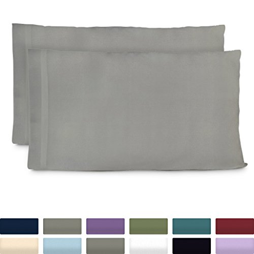 Cosy House Collection Premium Bamboo Pillowcases - King, Light Grey Pillow Case Set of 2 - Ultra Soft & Cool Hypoallergenic Blend from Natural Bamboo Fiber