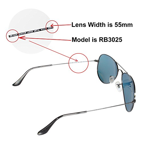 c127977eae Amazon.com  Walleva Replacement Lenses for Ray-Ban RB3025 Aviator Large  Metal 55mm - Multiple Options Available (24K Gold - Polarized)  Clothing