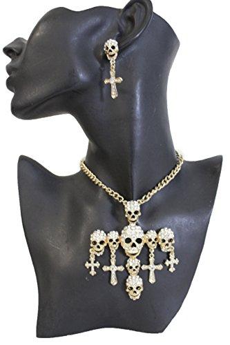 70 Tv Show Halloween Costume (TFJ Women Fashion Gold Metal Chains Necklace Skeleton Jewelry Cross Pendant Charm Earrings Set)