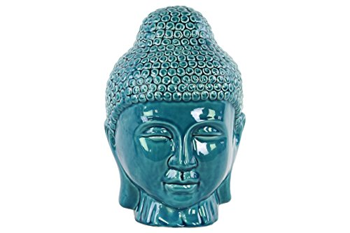 Urban Trends Ceramic Buddha Head with Rounded Ushnisha in Gloss Finish, Turquoise from Urban Trends