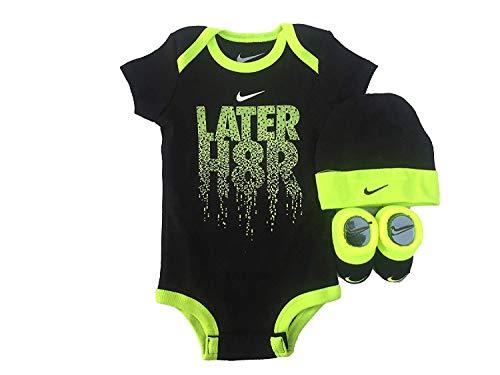 NIKE Infant Babys 3-Piece Bodysuit, Hat & Booties Set (0-6 Months, Black(IBSPN0643)/Volt/Volt)
