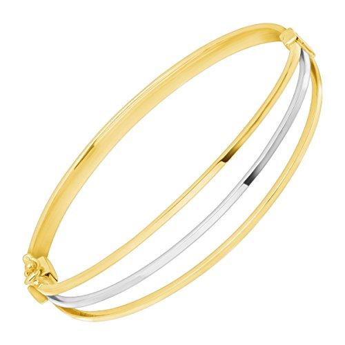 Tone 10k Gold Two Bracelet (Just Gold Two-Tone Triple Band Bangle Bracelet in 10K White & Yellow Gold)