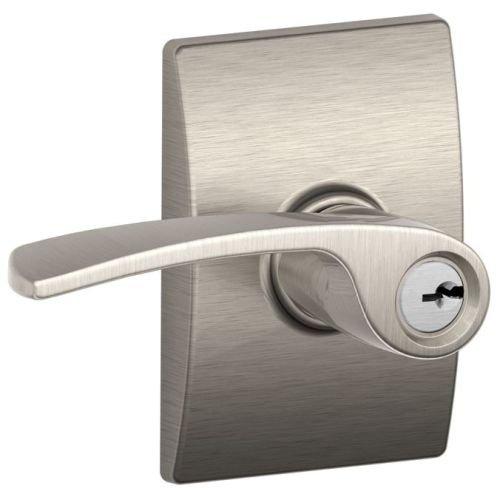 Panic Schlage Hardware (Schlage F51AMER619CEN Satin Nickel Merano Keyed Entry F51A Panic Proof Door Lever with Century Rosette)