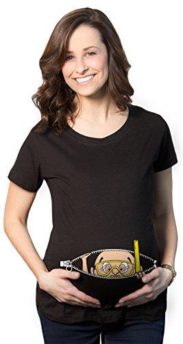 Crazy Dog TShirts - Maternity Peeking Scuba Diver Snorkel Baby Funny Pregnancy Gift T shirt (Black) - Femme