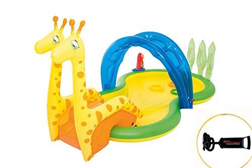(Giraffe Inflatable Swim Center Fun Baby Swimming Pool Toddler Water Slide Garden Hand Pump Leisure Pool)