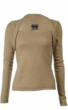 Sutton Studio Womens 100% Cashmere Shrug Neck Sweater Misses (Large, Camel)