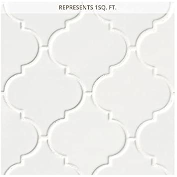 x 11 in White Glossy Arabesque 11 in x 6 mm Porcelain Mesh-Mounted Mosaic Tile