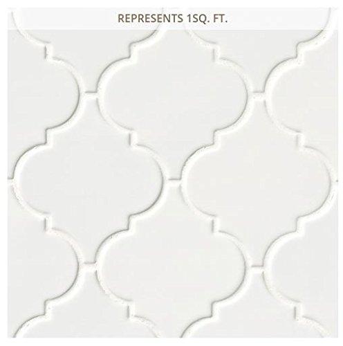 Whisper White Arabesque 10-1/2 in. x 15-1/2 in. x 8 mm Glazed Ceramic Mesh-Mounted Mosaic Wall Tile