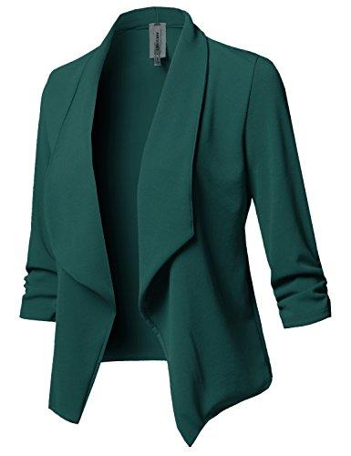 Stretch 3/4 Gathered Sleeve Open Blazer Jacket Huntergreen 3XL]()
