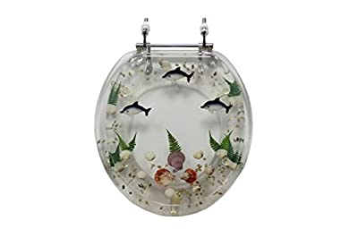 Trimmer Mother of Pearl Polyresin Toilet Seats In Pearl White With Dolphins And Coral