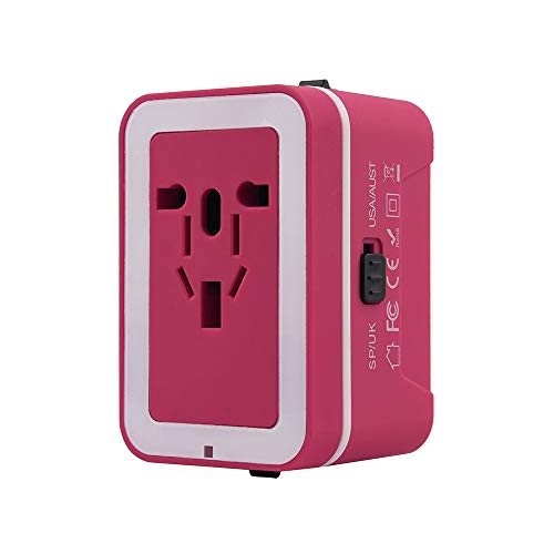 Travel adapter, Universal Travel Adapter and Convertor with 2 USB Ports Power Convertor Wall Plug Power for UK/US/AU/EU (Hot Pink) by TLT Retail (Image #1)