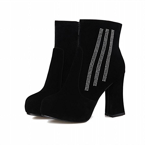 Carolbar Womens Zipper Rhinestone Elegance Sexy Fashion Platform High Chunky Heel Short Dress Boots U3ye3