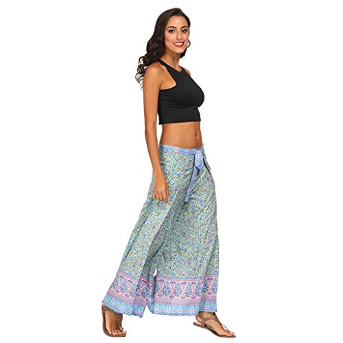 (acction Thin Summer Women Casual Loose Yoga Trousers Baggy Boho Aladdin Pants Ethnic Prints Comfortable Pants Green )