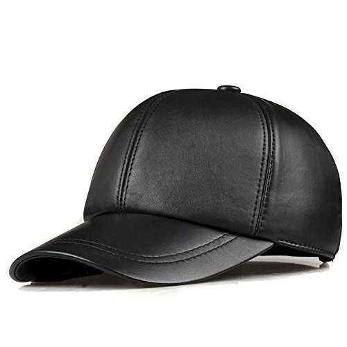 Genuine Leather Adjustable Solid Deluxe Baseball Ball Cap brand new men's black golf sport hats/caps HL008