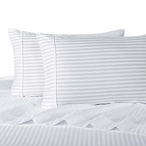 Stripe White Split King: Adjustable King Bed Size Sheets, 5PC Bed Sheet  Set, 100% Cotton, 300 Thread Count, Sateen Striped, Deep Pocket, By Royal  Hotel