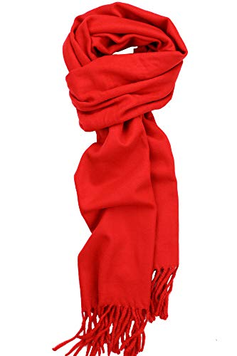 Achillea Solid Color Cashmere Feel Winter Scarf Unisex Soft & Warm Plain Scarf (Red)