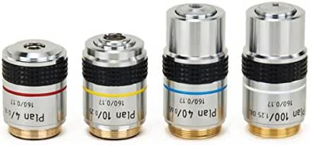 OMAX 4X 10X 40X and 100X PLAN Achromatic Objective Set for Compound Microscopes