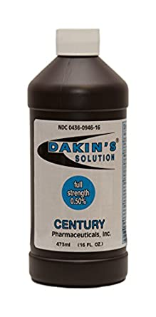 Dakin's Solution-Full Strength 304360946160 Sodium Hypochlorite 0.5 % Wound Therapy for Acute and Chronic Wounds by Century Pharmaceuticals
