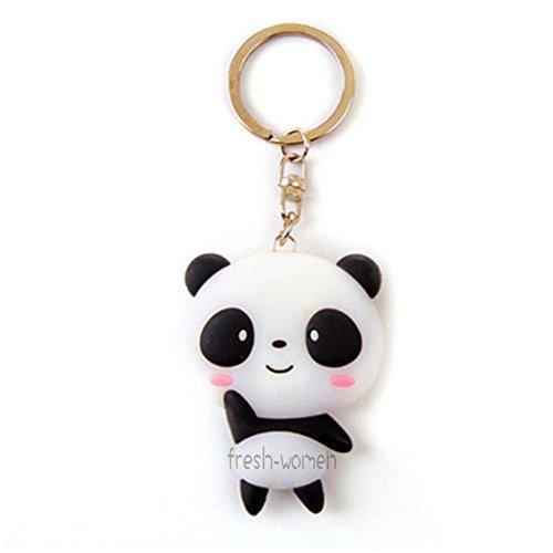JewelBeauty Kawaii Shy Cartoon Lovely Mini Panda Keychain Cute Animal Pendant Silicone Key Ring]()
