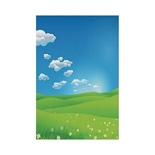 Polyester Garden Flag Outdoor Flag House Flag Banner,Landscape,Cartoon Scenery Clouds Valley Hills Grass Sunbeams Flowers Artprint Image,Blue White Green,for Wedding Anniversary Home Outdoor Garden De