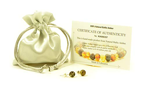 (Genuine Baltic Amber Stud Earrings with Sterling Silver, Hand Made from Genuine Baltic Amber (Green))