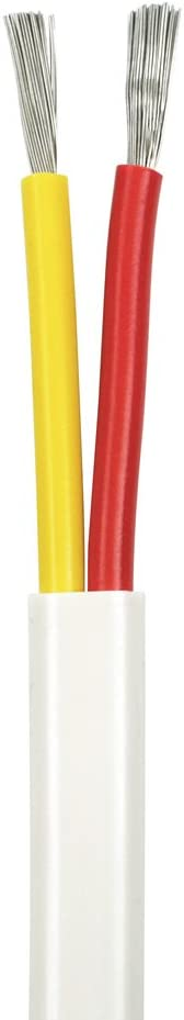 18/2 AWG Duplex Flat DC Marine Wire - Tinned Copper Boat Cable - 13 Feet - White PVC Jacket, Red/Yellow Conductor - Made in The USA