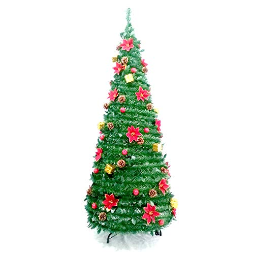 (ALEKO CTF71H24 Instant Pop Up Christmas Holiday Tree with Decorations 6 Foot)