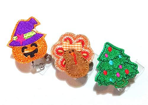 Holiday Badge Reel Bundle - Halloween Badge Reel-Thanksgiving Badge Holder-Turkey Badge Reel-Retractable Badge Holder-Glitter Badge Reel - Christmas Badge Reel - Swivel Badge - Nurse Badge Reel