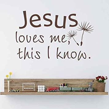 Amazon.com: Jesus Loves Me This I Know Bible Verse Vinyl Wall Decal ...