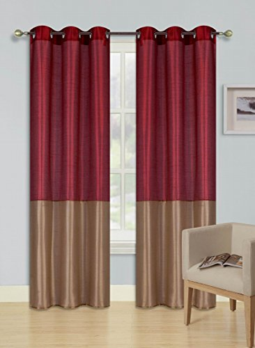 "GorgeousHome (HEIDI) 1 BURGUNDY GOLD Silky Drape Panel Top Chrome Metallic Grommet Window Curtain Treatment Drape 2 Shade New Style Sizes 37"" X Wide 63"" 84"" 95"" 108"" Length (37"" X 108"" X-LONG)"