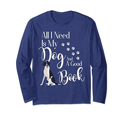 - Great Dane Long Sleeve Shirt Dog Mantle Book Reading Lover