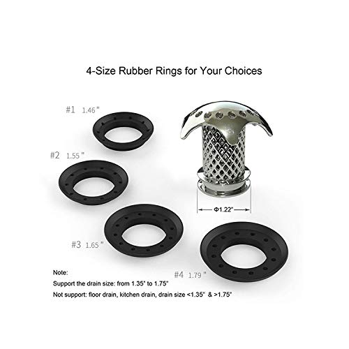 COZY ROOM Drain Protector Drain Hair Catcher Shower with 4 Compatible Rubber Rings (1-Set)