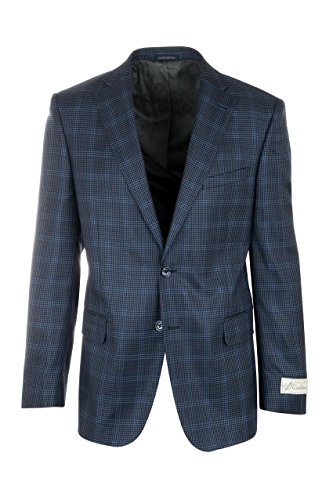 Silk Sports Coat (Tiglio Dolcetto Blue and Black Houndstooth Pattern With Light Blue Windowpane Silk & Wool Jacket by Canaletto Menswear)