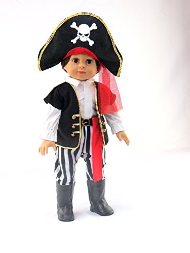 Black and White Pirate Halloween Costume| Fits 18