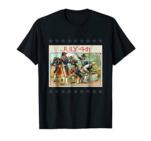 - July 4th Patriotic Continental Army Postcard T Shirt Tee