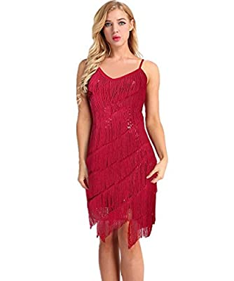 iiniim Women's 1920s Sequin Fringe Flapper Gatsby Custome Dance Party Dress