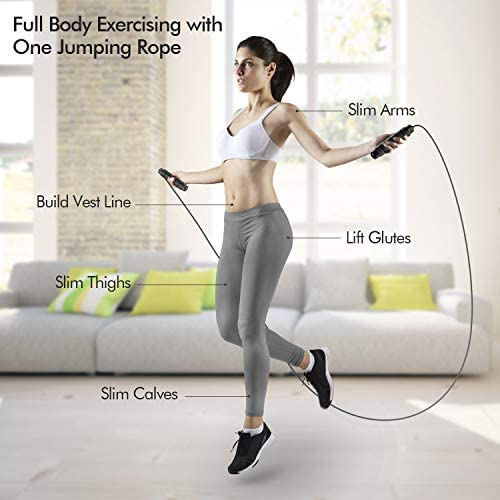 FRETREE Jump Rope, Tangle-Free Rapid Speed Jumping Rope Cable with Ball Bearings for Women, Men, and Kids, Adjustable Steel Skipping Rope with Foam Handles for Gym Fitness, Home Exercise & Slim Body…