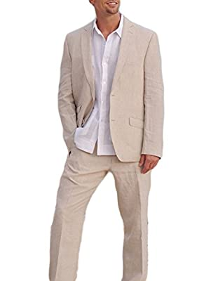 Beige Wedding Suits Summer Beach Men Suits 2 Pieces Groom Tuxedos 2 Buttons